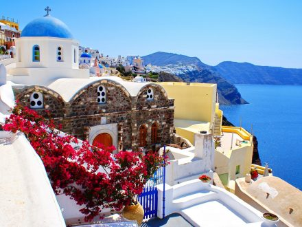 Town of Santorini in the Greek Aegean Islands