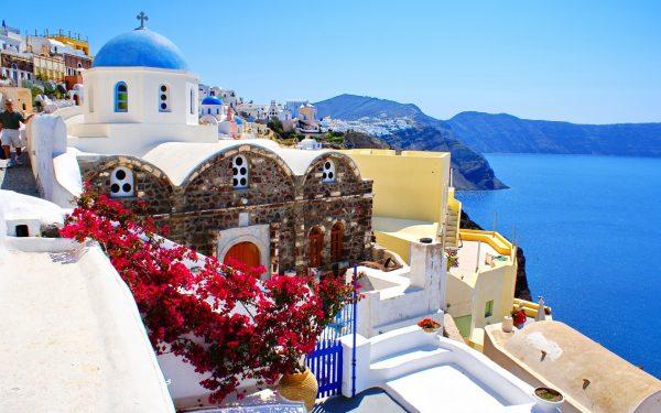 Town of Santorini in the Greek Aegean Islands